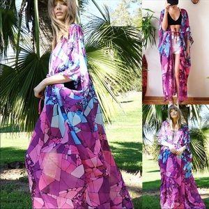 5⭐️Fave!! Purple Abstract Kimono Duster